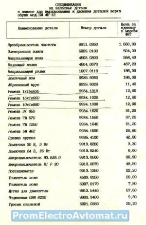 Camoga 45-12_Спецификация на запасные детали